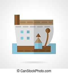 Barge vector icon flat style - Flat color design sea barge...