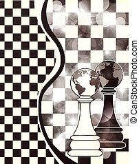 Abstract banner with chess pawn