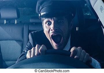 chófer, Consigue, en, coche, crash, ,