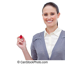 Charming businesswoman smiling against a white background