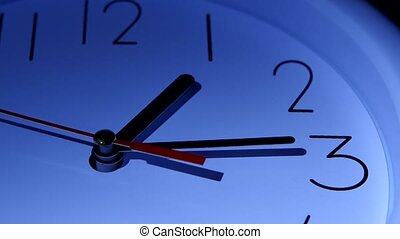 Vector blue office clock on white background. time concept...