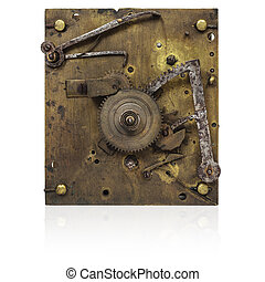Inner workings of an old fashioned clock isolated on white