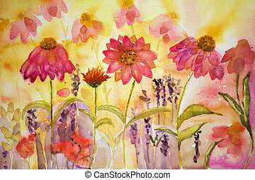 Naive coneflowers with some lavender. The dabbing technique...
