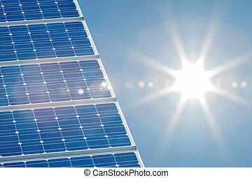 Solar panel with a bright sun on the right side - Blue solar...