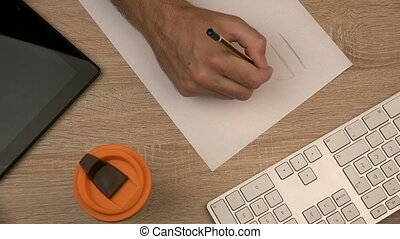 Graphic designer writing Idea - Graphic designer writing...