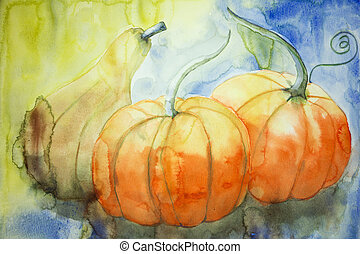 Two pumpkins and a squash The dabbing technique gives a soft...