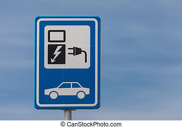 Dutch sign for charging an electric vehicle - Dutch blue...