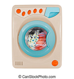 Retro washing machine isolated on a white background