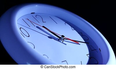 Close up of a watch on black background Vector blue office...
