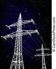 pylons - electric pylons under the stars