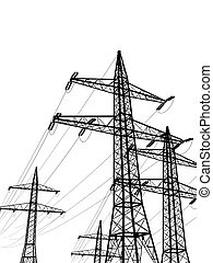 pylons - electric pylons isolated on white background