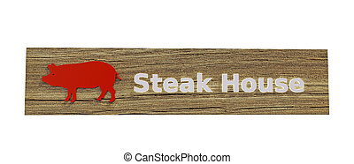 steak house sign isolated on white background