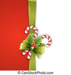 Christmas decoration with holly leaves and candy - Christmas...