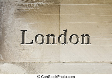 Engraved City London - Engraving spelling the city London on...