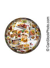 World Cuisine Collage Globe - Globe collage of lots of...