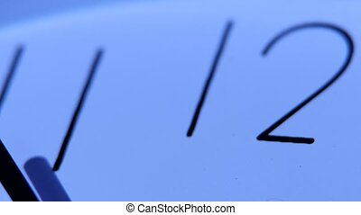An image of a white clock at twelve. Close up