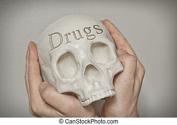 Skull Engraving Drugs - Engraved word drugs on skull spell...