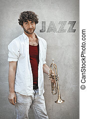 Jazz Trumpet - Curly haired man plays jazz trumpet outside