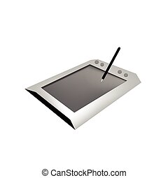 Digital Graphic Tablet with Pen on White Background -...