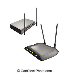 Two Black Wireless Router on White Background -...
