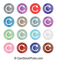 Set of 16 Reset Icons or Reload Buttons - Flat Icons,...