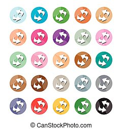 Set of 16 Reset Icons or Refresh Icons - Flat Icons,...