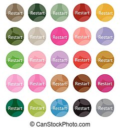 Set of 16 Restart Icons or Reset Icons - Flat Icons,...