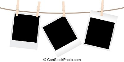 photos clothespin - vector blank photo frames on a...