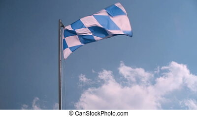 Bavarian flag in blue sky - Bavarian flag in front of a blue...