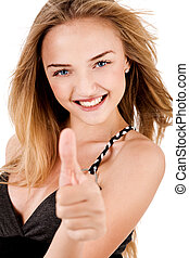 Happy Young Lady Showing ThumbS Up on isolated background