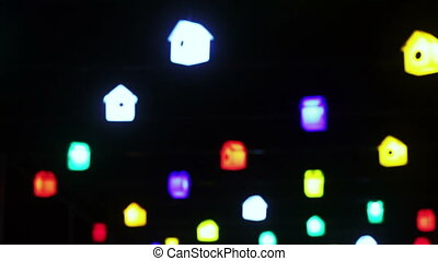 Glowing lights birdhouses - Camera takes focus from glowing...