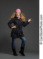 Young beautiful woman in winter clothes - Young beautiful...