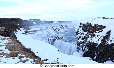 Waterfall Gullfoss in wintertime