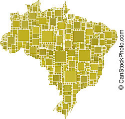 Map of Brazil - The figure is composed by a mesh of squares...