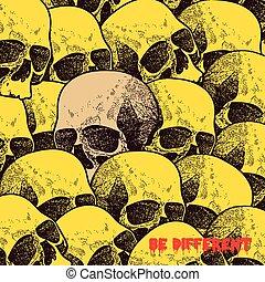 Vector white skull on black background in grunge design style