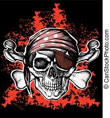 Jolly Roger pirate symbol with crossed bones