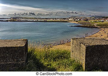 High view of Elie coastline - pretty sunset shot over Elie...
