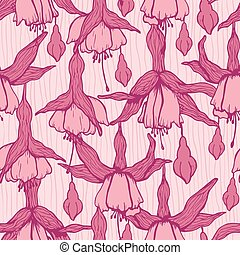 Pattern fuchsia - Pattern with sketches of pink fuchsia...
