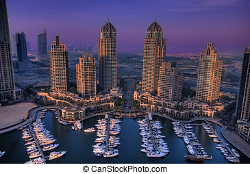 Dubai Marina - Aerial Shot of Dubai Marina Walk showing the...