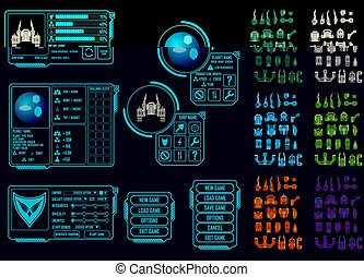 Space game asset - Vector elements for strategy space video...