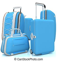 Suitcases isolated on a white background. 3D.
