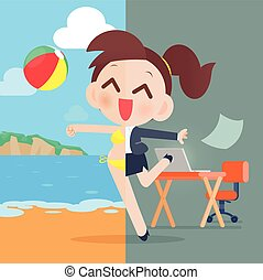 Business woman relaxing, eps10 vector format