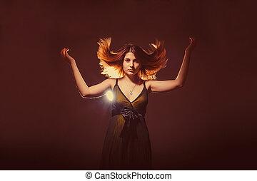 European-looking girl of twenty years raised her hair up on...
