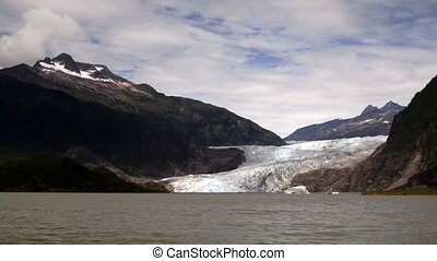 The Lake Shore at Mendenhall Glacier Alaska United States -...