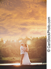 Bride at sunset