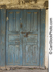 The Old Door with Cracked Paint, Background - The Old wooden...