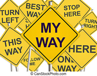 My way. Road sign on the white background. Raster illustration.
