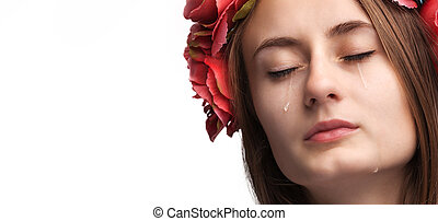 Portrait of young beautiful woman crying - Close-up portrait...