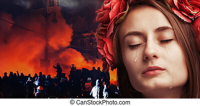 Portrait of young beautiful woman crying - Patriotic concept...