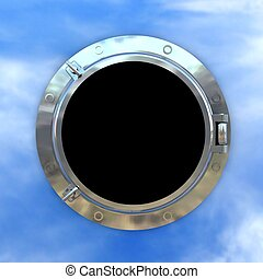 porthole. 3D render isolated on white background.